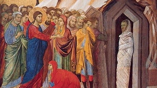 The Raising of Lazarus, by Duccio  di Buoninsegna – Kimbell Art Museum