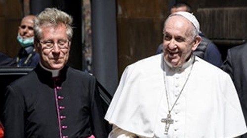 Msgr Jozef Bart with the Holy Father, 19 April.