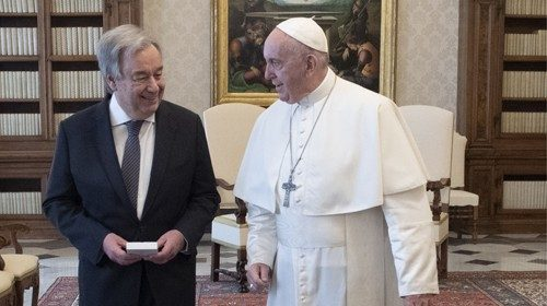 Pope Francis with the Secretary-General of the United Nations on 20 December 2019