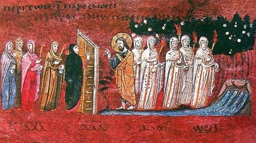 """The parable of the ten virgins"", Codex Purpureus Rossanensis (detail)"