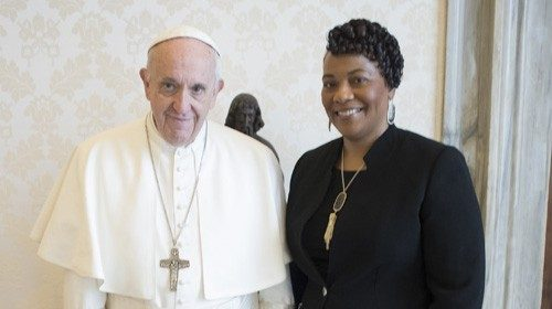 Pope Francis with Bernice on 12 March 2018