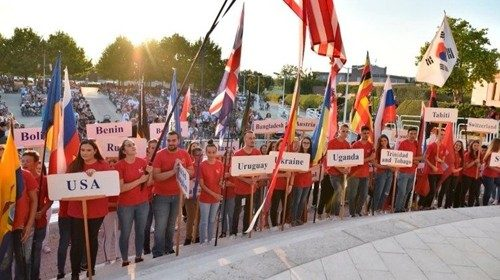 Young people attend the festival in Medjugorje