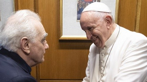 Pope Francis with Martin Scorsese in the Vatican on 21 October 2019