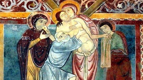 L'affresco raffigurante la Deposizioneconservato nell'oratorio di San Pellegrino