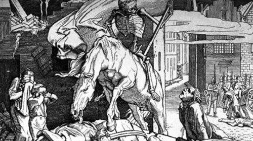 Rappresentazione della morte per epidemia in una stampa d'epoca