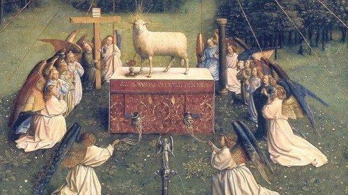 Jan van Eyck «Polittico dell'Agnello mistico» (particolare)