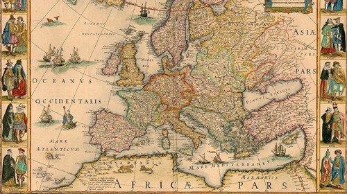 Antica mappa dell'Europa e del Mediterraneo del cartografo olandese Willem Blaeu
