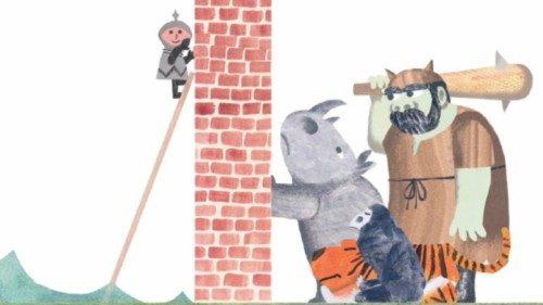 Illustrazione da «Il muro in mezzo al libro» di Jon Agee (Il Castoro)